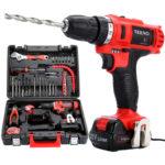 Perceuse visseuse sans fil TEENO PSR 21V + 2 batteries lithium + 41 accessoires + gants professionnels
